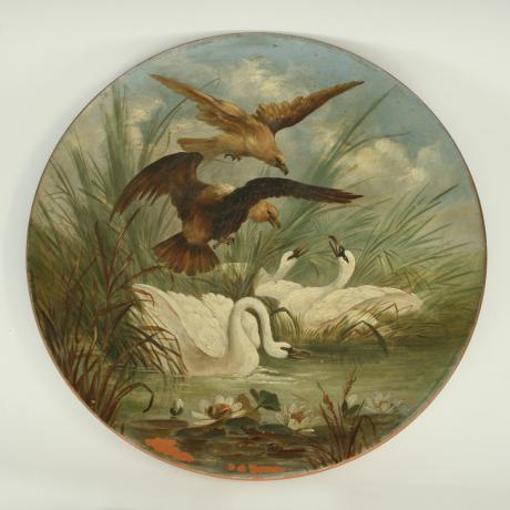 8307 TERRACOTTA HUNTING PLATES.A large pair...