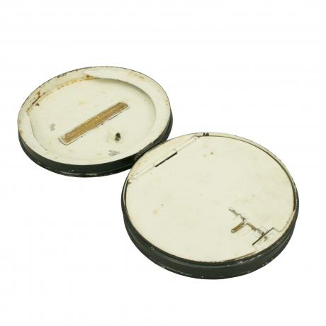 12616 A circular black japanned fishing tin...