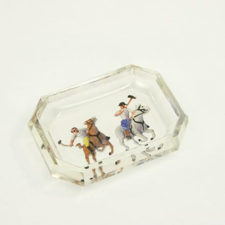 13145 ANTIQUE / VINTAGE POLO GLASS PIN TRAY,...
