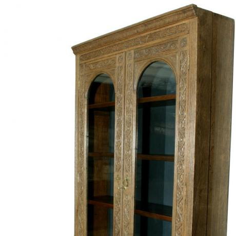 14875 ANTIQUE OAK GLAZED CABINET.