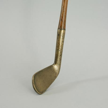 19667 ANTIQUE HICKORY GOLF CLUB IRON, BRONZE...