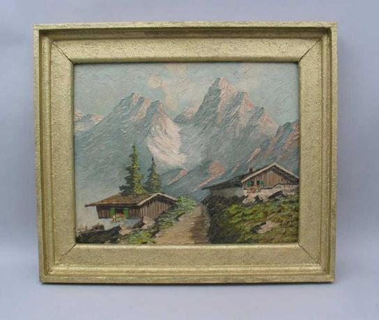 21785 Vintage Alpine Oil Painting.