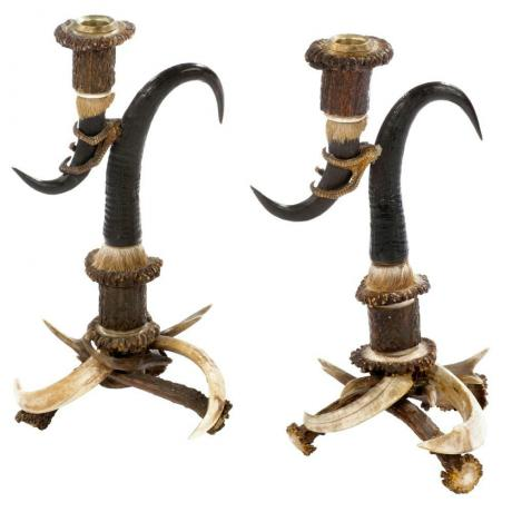 22864 Antler Candle sticks, Black Forrest.