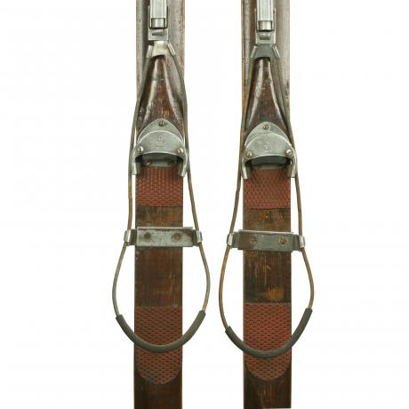 23340 Antique Ash Skis with Unique Safety...