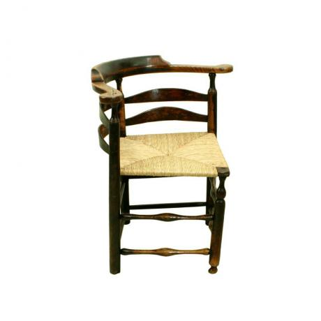 24445 ANTIQUE LADDER BACK CORNER CHAIR.