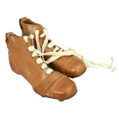 24982 VINTAGE PAIR OF LEATHER FOOTBALL, RUGBY...