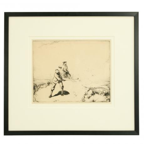 25695 Golfing picture, drypoint etching by...