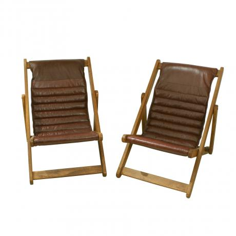 25813 Vintage Pair of Leather and Oak Deck...