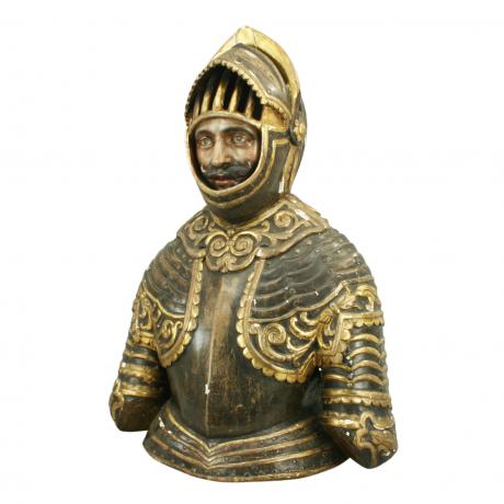 25922 Wooden Bust of A Knight.