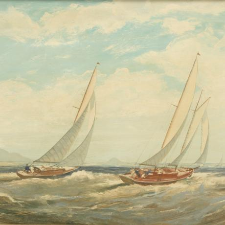 26003 Sailing in Torbay, Yachting Oil...