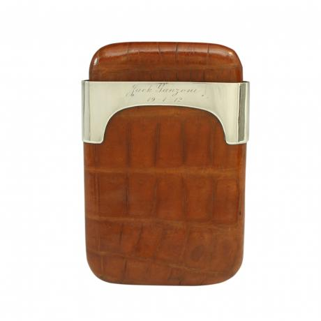 26009 Leather Cigar Case With Silver...