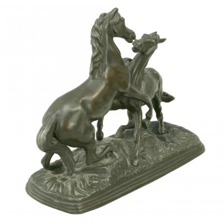 26298 Bronzed Spelter Horses.