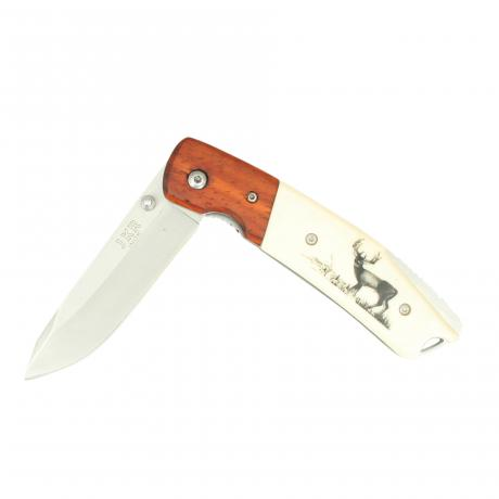 26380 Folding Stag Motif Pocket Knife JKR 