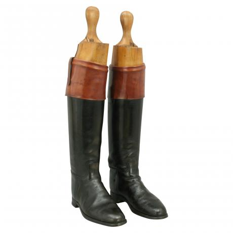 26369 Pair of black leather hunting boots...