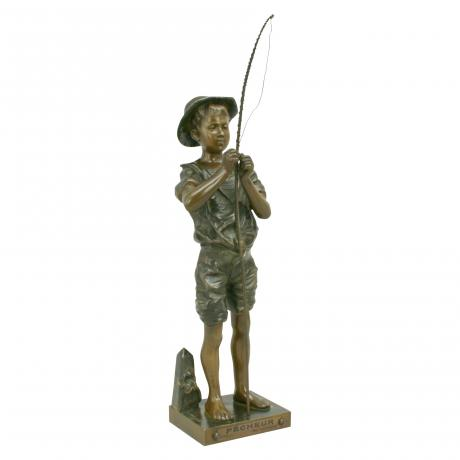 26486 Bronze Fishing Figure by Lavergne.