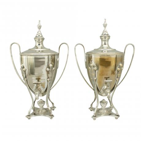 26465 Mappin & Co Silver Plated Urns.
